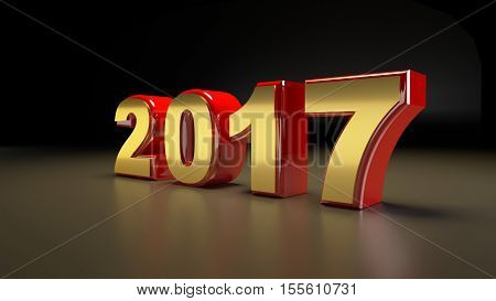 3D abstract illustration of 2017 year on a dark background