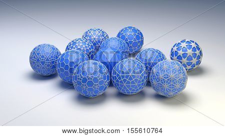 3D abstract illustration of blue christmas balls on a white background