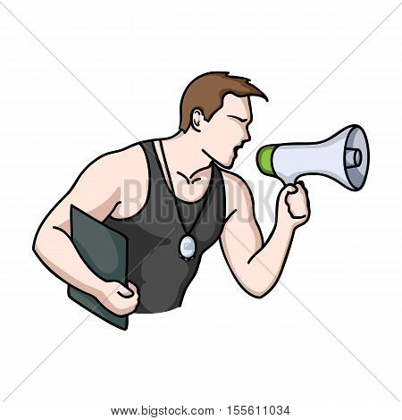 Personal trainer icon in cartoon style isolated on white background. Sport and fitness symbol vector illustration.