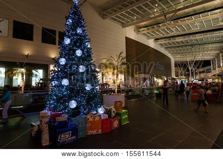 Mexico, Cancun - December 31, 2014: Shopping Mall Plaza Las Americas In Cancun City.