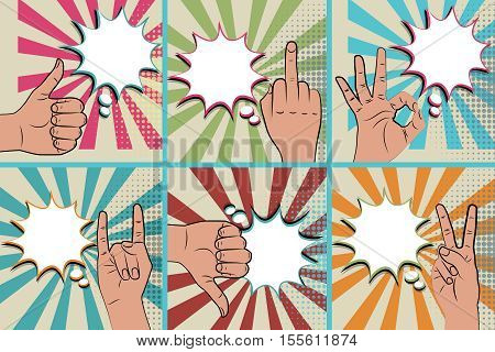Hand sign comic retro pop art style white round bubble. Gestures okay. Cartoon comic vector colored speech bubble. Halftone hand drawn finger, ok sign. Like positive hand signs Blue pop art background