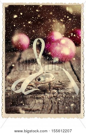 Christmas Card Jingle Bell Retro Photo Snow Drawn