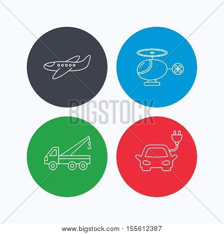 Electric car, airplane and helicopter icons. Evacuator linear sign. Linear icons on colored buttons. Flat web symbols. Vector