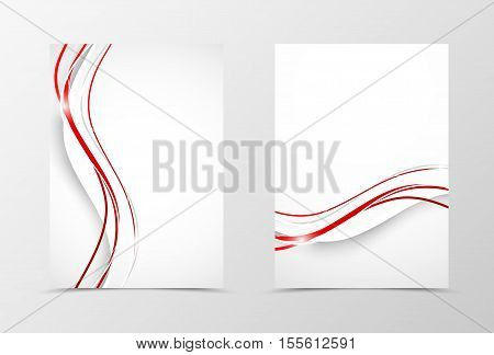 Front and back wave flyer template design. Abstract template with white and red lines in minimalistic style. Vector illustration