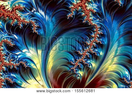 Wavy fractal background - abstract digitally generated image. Glossy waves and curls. Backdrop for cards, posters, covers.
