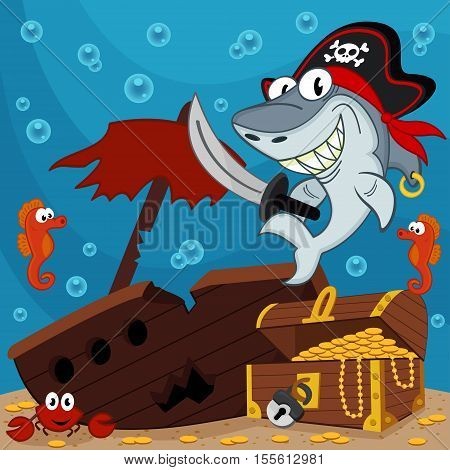 shark as captain pirate  - vector illustration