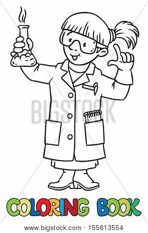 Coloring picture or coloring book of funny chemist or scientist. A woman in glasses dressed in a lab coat and gloves with smocking retort or vial. Profession series. Childrens vector illustration.