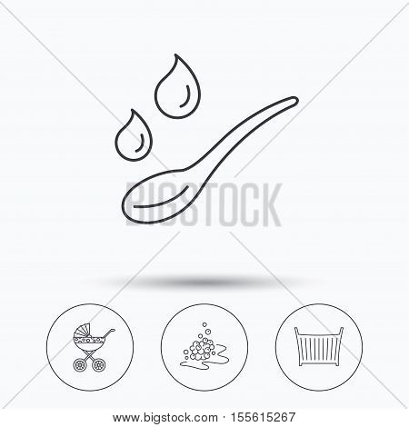 Pram carriage, spoon and drops icons. Bubbles, crib bed linear signs. Linear icons in circle buttons. Flat web symbols. Vector