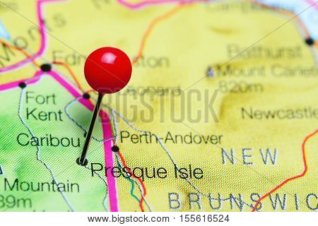 Presque Isle pinned on a map of Maine, USA