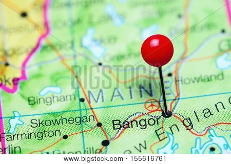 Bangor pinned on a map of Maine, USA