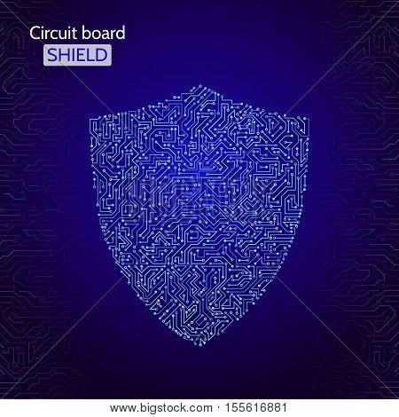 Protection concept of digital and technological. Data security icon. Circuit board shield. Vector eps 10
