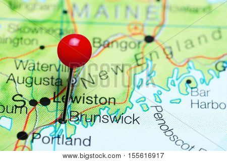 Brunswick pinned on a map of Maine, USA