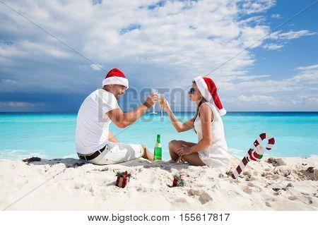 Christmas Vacation On Tropical Beach