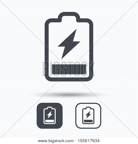 Battery power icon. Charging accumulator symbol. Square buttons with flat web icon on white background. Vector
