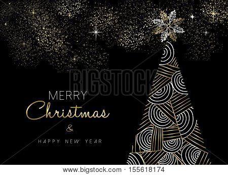 Christmas New Year Gold Geometry Line Pine Tree