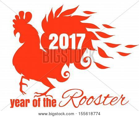 Drawing Of The Bird. The Symbol Of The Chinese New Year Of Rooster