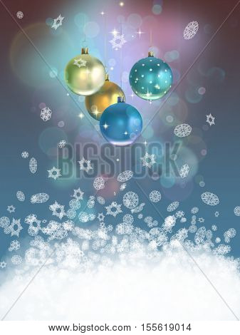 Christmas background with baubles and snow.