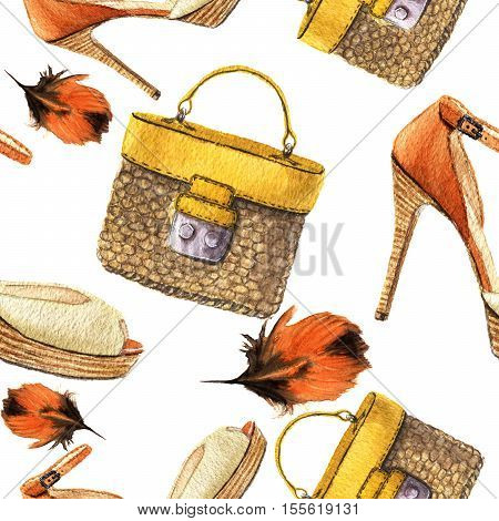 Watercolor seamless pattern with orange high-heeled shoes and woven handbag. Hand drawn fashion illustration on white background. For design, textile and background.