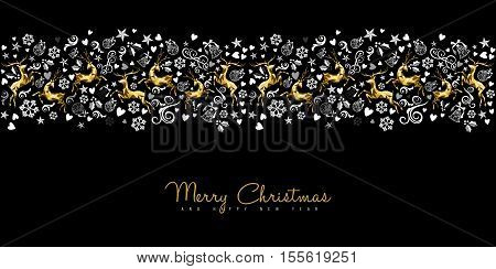 Vintage Christmas Pattern Deer Decoration In Gold