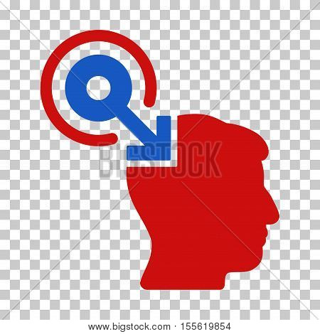 Blue And Red Brain Interface Plug-In interface toolbar icon. Vector pictograph style is a flat bicolor symbol on chess transparent background.