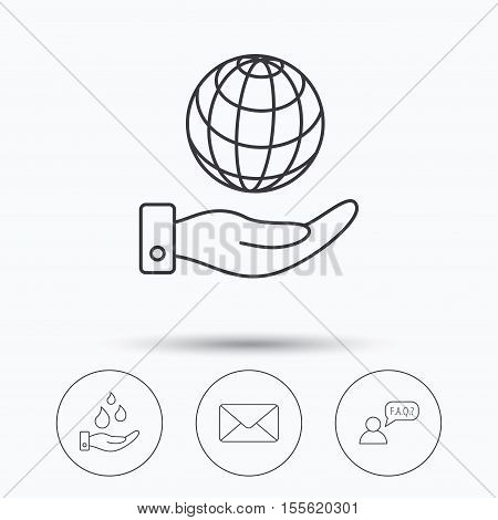 Mail, save water and faq speech bubble icons. Save planet linear sign. Linear icons in circle buttons. Flat web symbols. Vector
