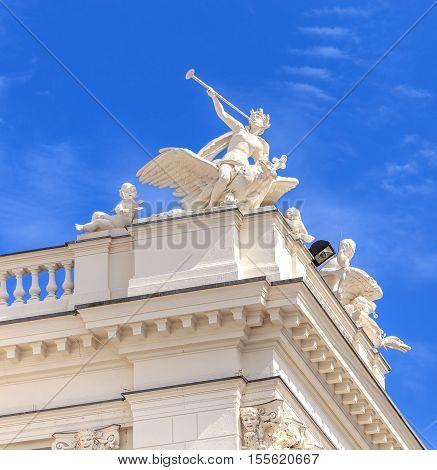 Zurich, Switzerland - 25 May, 2016: sculptures on the top of the Zurich Opera House building. Zurich Opera House has been the home of the Zurich Opera since 1891. It also houses the Bernhard-Theater Zurich and the Zurich Ballet.