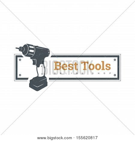 Repair and construction emblem with work tools. Vector icon of electric drill, metal drills, screwdriver.