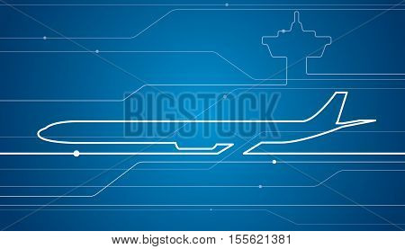 Abstract airplane white lines, vector design aviation background, airport wallpaper