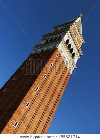 St. Mark's Campanile is the bell tower of St. Mark's Basilica in Venice, Italy, located in the Piazza San Marco (98.6 metres - 323 ft. tall)