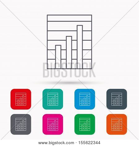 Chart icon. Graph diagram sign. Demand growth symbol. Linear icons in squares on white background. Flat web symbols. Vector