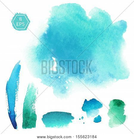 Vector. Set of blue and turquoise watercolor blots isolated on white background. Watercolor blots for your design, logo, emblem, banner.