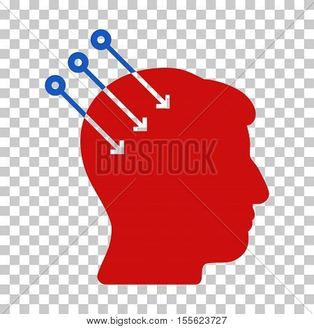 Blue And Red Neural Interface Connectors interface pictogram. Vector pictograph style is a flat bicolor symbol on chess transparent background.