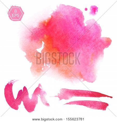 Vector. Set of pink and orange watercolor blots isolated on white background. Watercolor blots for your design, logo, emblem, banner.