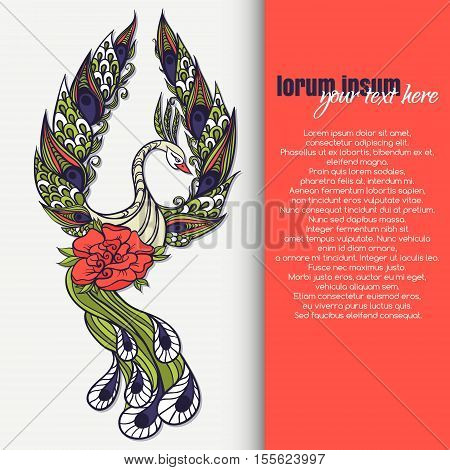 Drawing Of Mythical Swan With Place For Text