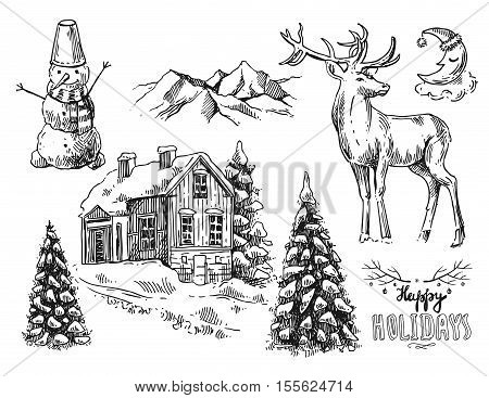 Hand drawn sketch set of illustration christmas landscape with house, spruce and deer. Us for postcard, card, invitations and cristmas decorations.