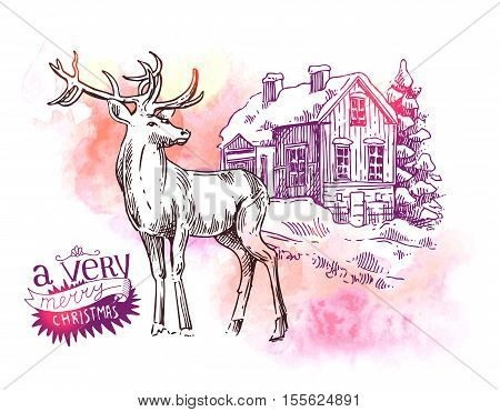 Hand drawn sketch illustration christmas landscape with house, spruce and deer. Us for postcard, card, invitations and cristmas decorations.