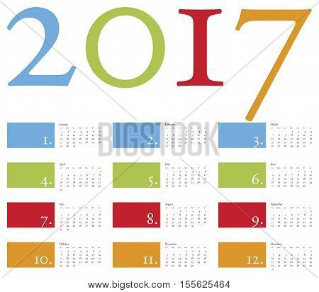 Colorful and elegant Calendar for year 2017 in vector format