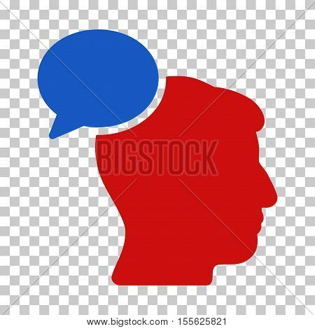 Blue And Red Person Idea toolbar icon. Vector pictogram style is a flat bicolor symbol on chess transparent background.