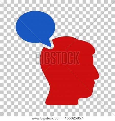 Blue And Red Person Opinion interface pictogram. Vector pictogram style is a flat bicolor symbol on chess transparent background.