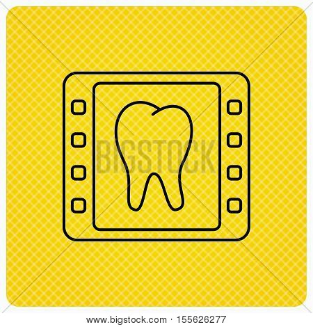 Dental x-ray icon. Orthodontic roentgen sign. Linear icon on orange background. Vector