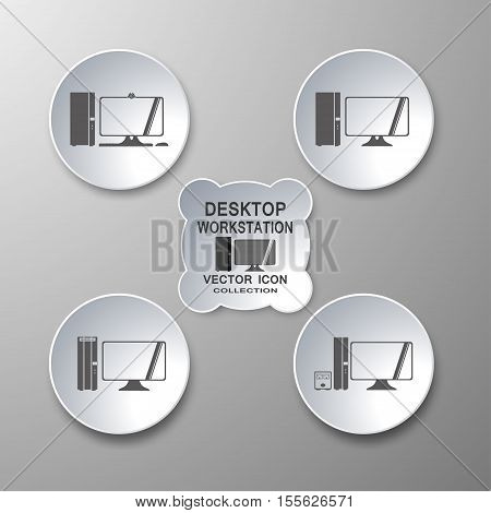 Vector collection of desktop workstation icons in gray and white with shadows on gradient background.