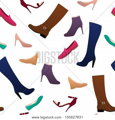 Seamless pattern different types of women s shoes on shelves ballets moccasins boots high heel shoes.