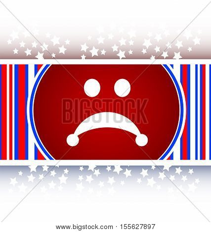 white and red Sad icon web button, character sign