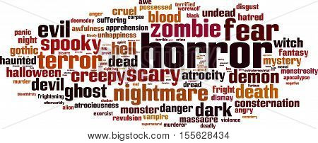 Horror word cloud concept. Vector illustration on white