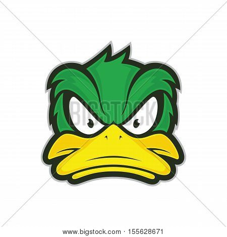 Clipart picture of a angry duck cartoon mascot logo character