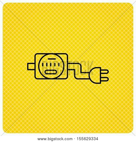 Electric counter icon. Electricity with plug sign. Linear icon on orange background. Vector