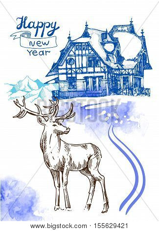 Hand drawn sketch illustration christmas landscape with house and deer. Us for postcard, card, invitations and christmas decorations.