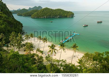 White sand tropical beach in the Ko Angthong island, Thailand