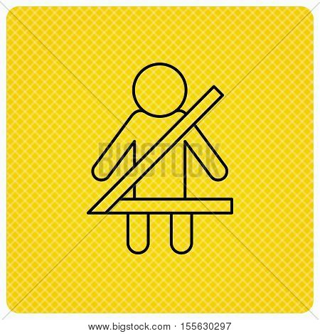 Fasten seat belt icon. Human silhouette sign. Linear icon on orange background. Vector