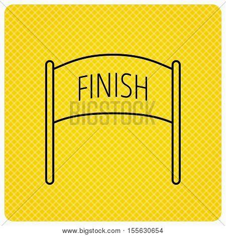 Finish banner icon. Marathon checkpoint sign. Linear icon on orange background. Vector